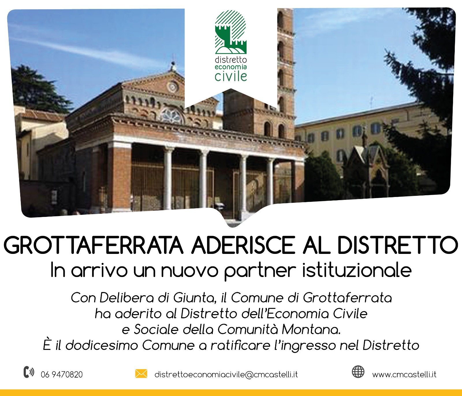Il COMUNE DI GROTTAFERRATA ADERISCE AL DISTRETTO DELL'ECONOMIA CIVILE