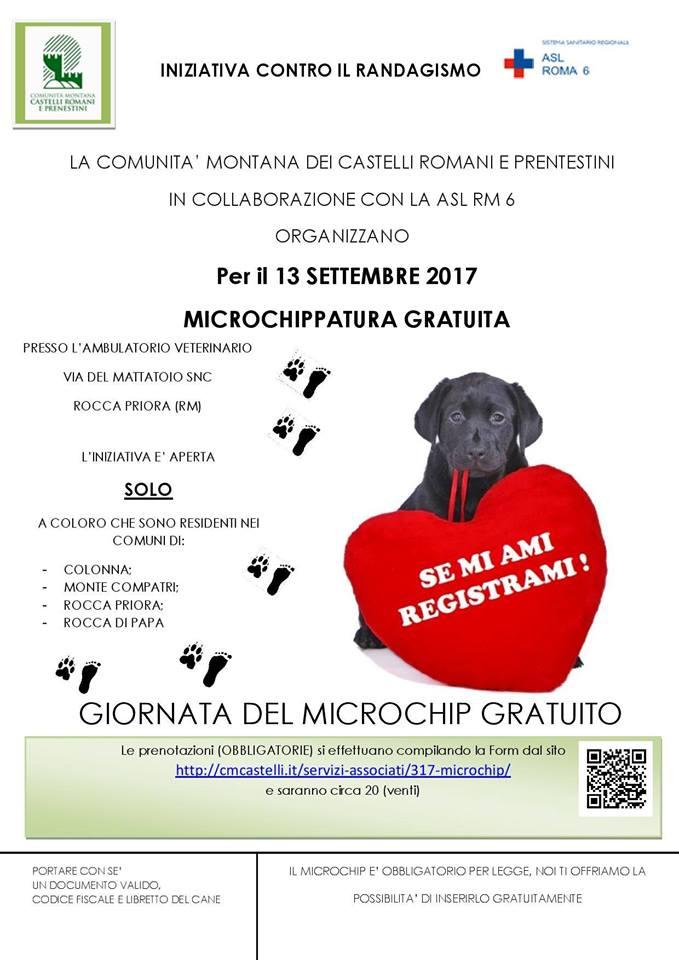 GIORNATA DEL MICROCHIP GRATUITO A ROCCA PRIORA