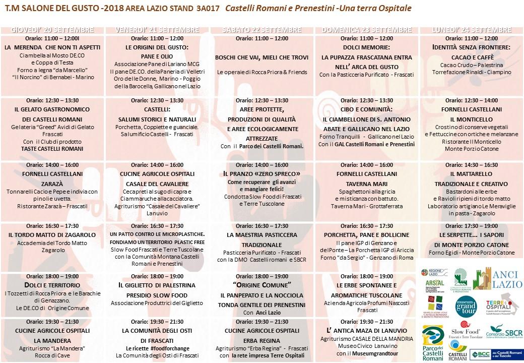Programma dello Stand della Comunità dei Castelli Romani e Prenestini al Salone del Gusto
