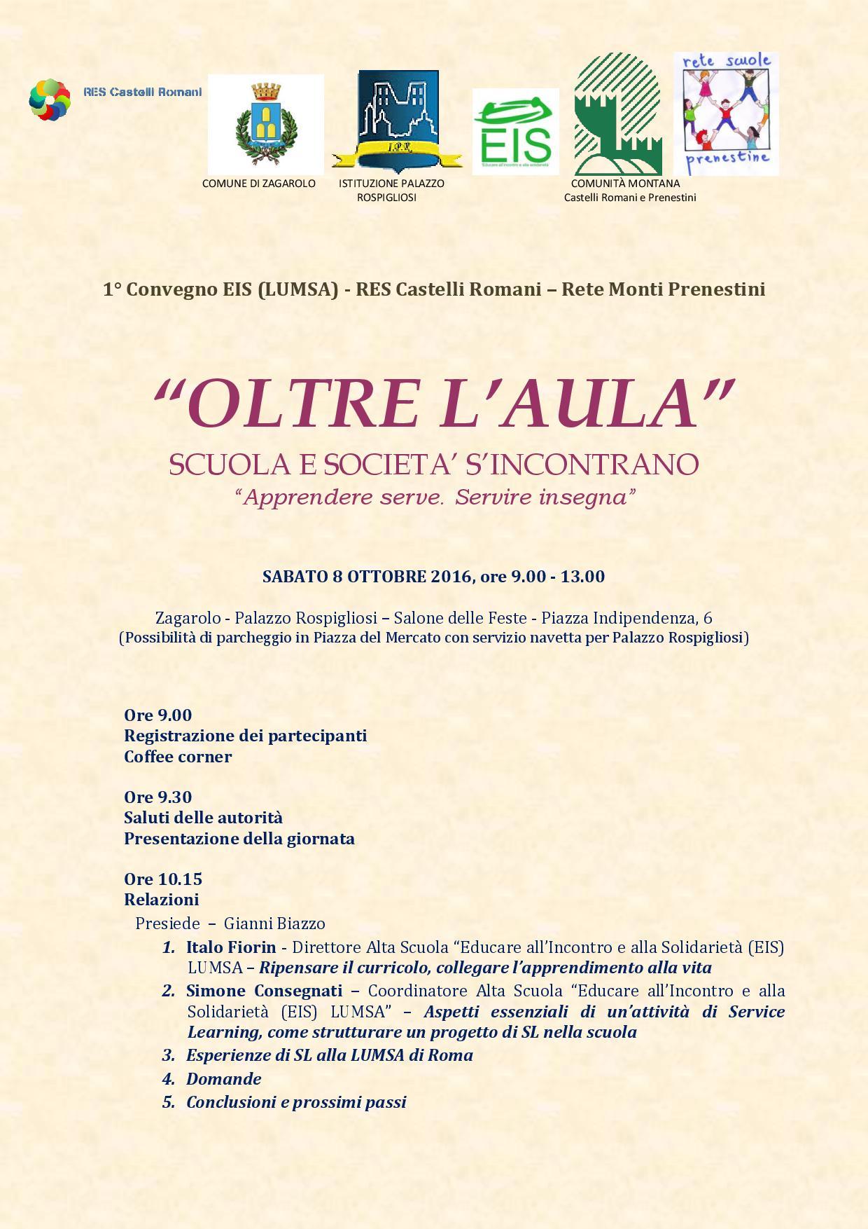 OLTRE L'AULA - SCUOLA E SOCIETA' S'INCONTRANO IN UN CONVEGNO A ZAGAROLO